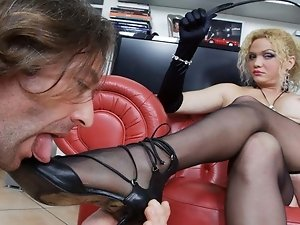 Another great dominating scene from Bianca. Abusing her slave in all ways and holes, with whips, hells and cock. And with a special gift for pissing l
