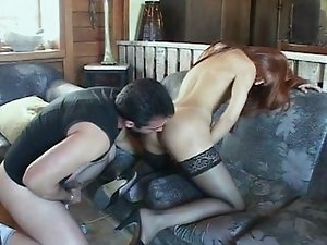 Redhead shemale fucked at home