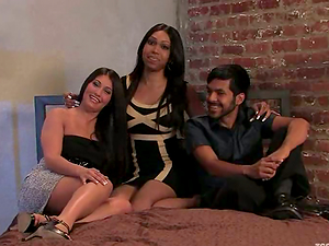 Two brunette trannies have fun with some guy in a hot threesome scene