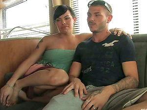 Bulky tranny TS Foxxy caresses some dude before smashing his ass