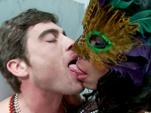 Lance Hart gets fucked by brunette tranny Vaniity in WC