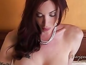 Gorgeous TS Mariana Cordoba plays with erected monstrous cock